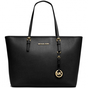 Michael Kors Jet Set Travel Saffiano Leather Top Zip Tote Bag – Màu Đen
