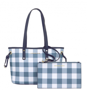 Michael Kors Jet Set Travel Plaid SM Drawstring Tote – Màu Denim